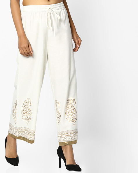 Printed Palazzos With Elasticated Waist By AVAASA MIX N' MATCH ( Offwhite )