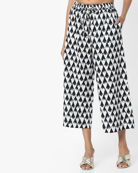 Printed Culottes With Drawstring Waist By Project Eve IW Casual ( Black )