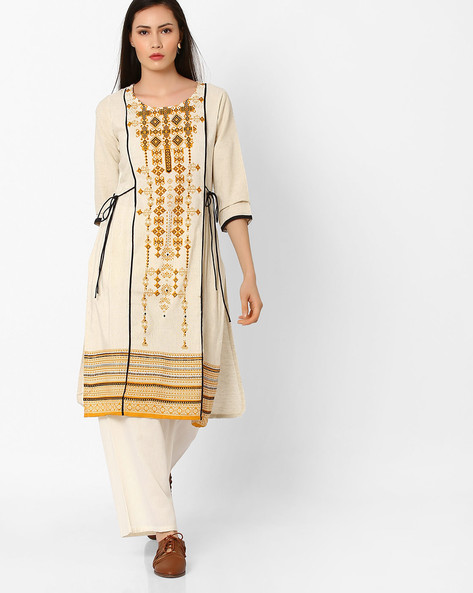Printed Straight Kurta With Side Tie-Up By Shakumbhari ( Yellow )
