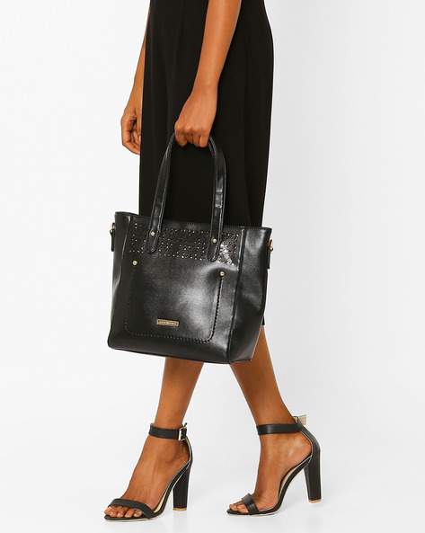 Laser-Cut Tote Bag By Addons ( Black )