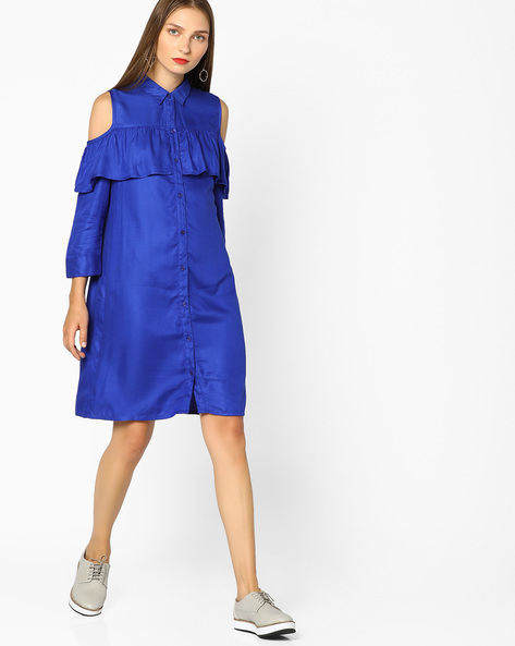 Ruffled Shirt Dress With Cold-Shoulder Sleeves By AJIO ( Blue )