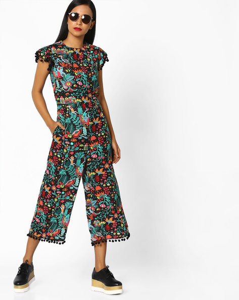 All-Over Print Jumpsuit By AJIO ( Black )