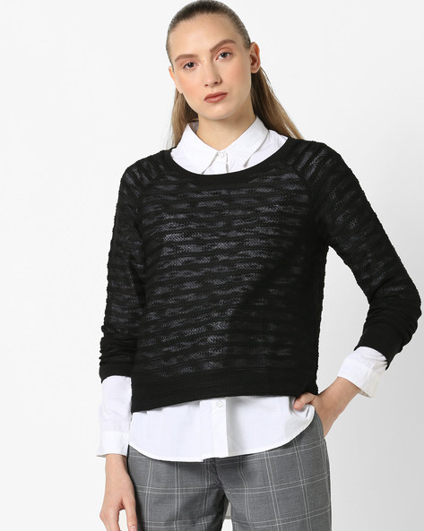 Knitted Pullover With Ribbed Hems By Fame Forever By Lifestyle ( Black )