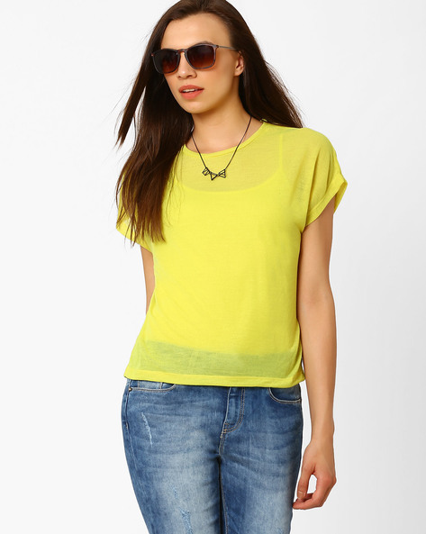 T-shirt With Short Sleeves By CHEMISTRY ( Limegreen )