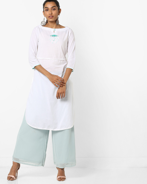 Slim Fit Straight Kurta With Embroidery By AJIO ( Offwhite )