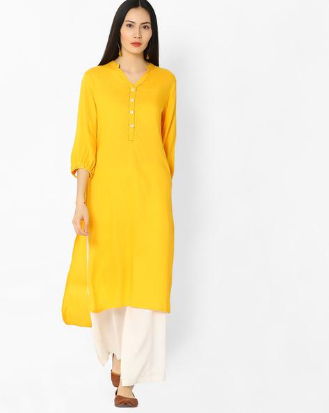 High-Low Kurta With Mandarin Collar By OVI ( Yellow )