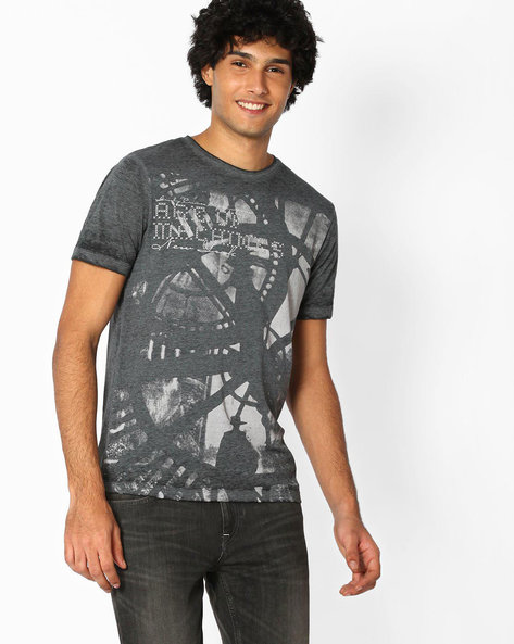 Printed Slim Fit T-shirt With Washed Effect By DNMX ( Charcoal )