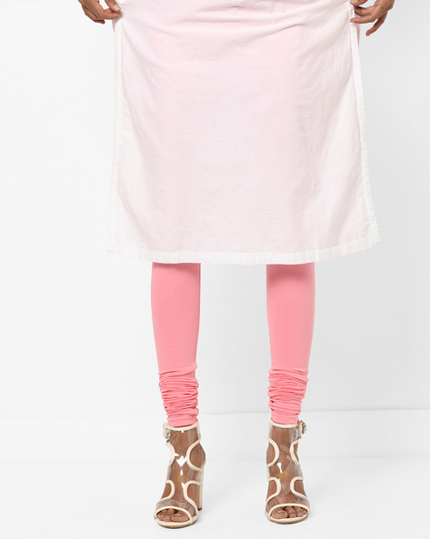 Knitted Churidar Leggings With Elasticated Waistband By AJIO ( Coral )