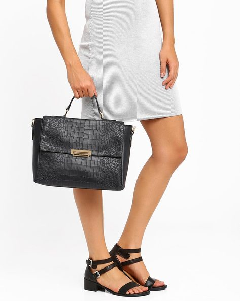 Textured Briefcase Bag By AJIO ( Navy )