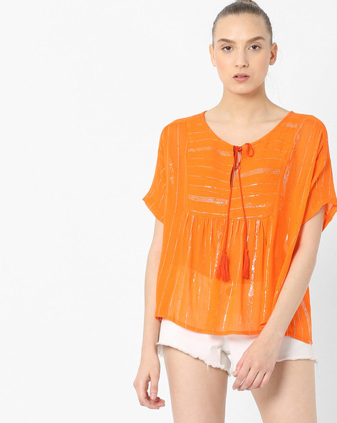 Shimmer Striped Boxy Top By Rena Love ( Orange )