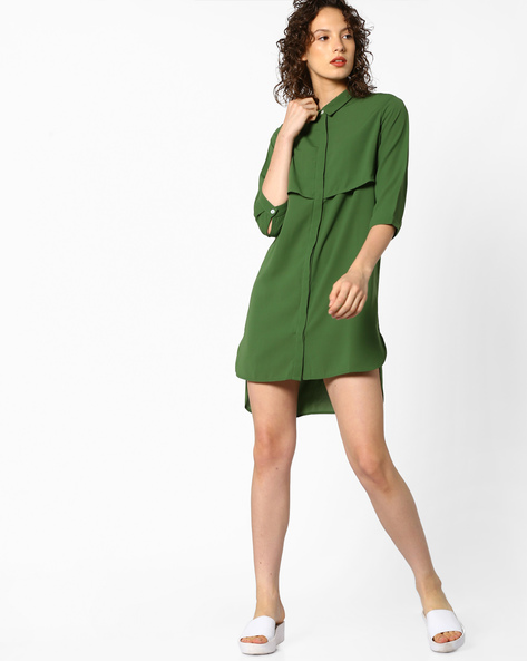 Tunic Top With Collar By Project Eve WW Casual ( Olive )