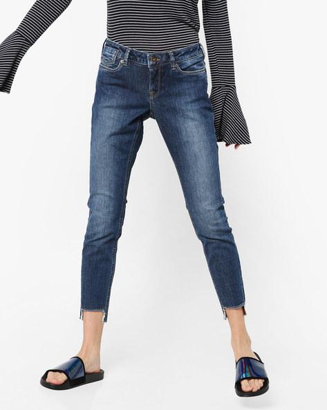 Skinny Jeans With Step Hems By Vero Moda ( Fuschiablue )