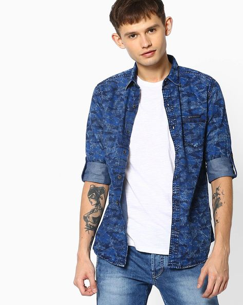 Camouflage Print Shirt With Roll-Up Tabs By MUFTI ( Blue )