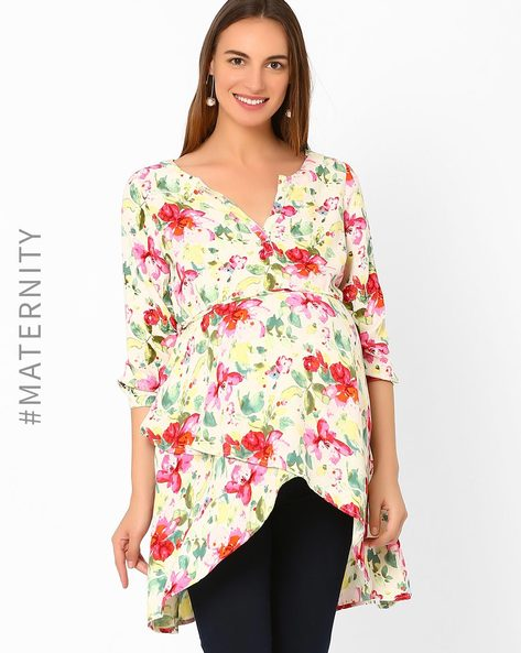 Floral Print Maternity Top By AJIO ( Pink )