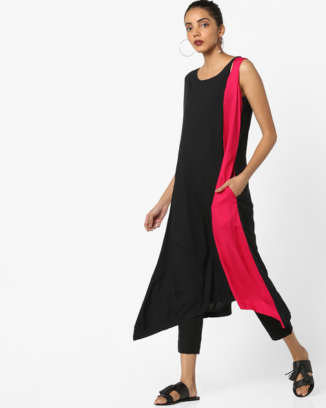 Colourblock Panelled Kurta By Project Eve IW Casual ( Black )