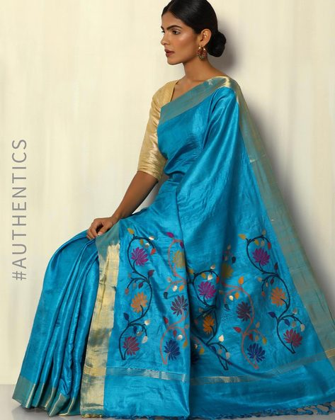 Handloom Pure Silk Tussar Saree With Zari Border By Pretty Woman ( Blue )