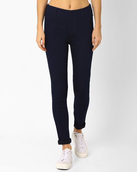 Woven Ankle-Length Jeggings By And ( Ltblue )