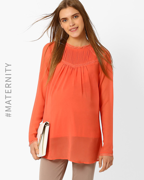 Maternity Top With Pleats By Oxolloxo ( Pink )