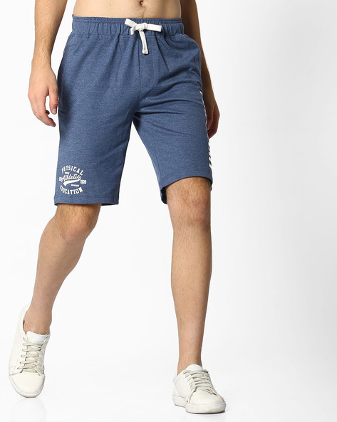 Mid-Rise Shorts With Drawstring Fastening By Teamspirit ( Blue )