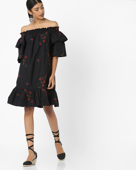 Off-Shoulder Dress With Floral Embroidery By Tokyo Talkies ( Black )