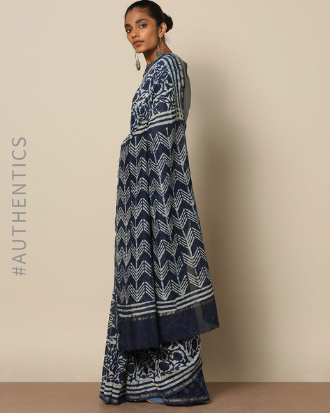 Handblock Indigo Print  Chanderi Saree With Zari By Indie Picks ( Indigo ) - 460146818001