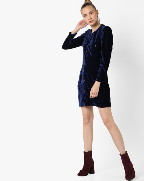 Sheath Dress With Button Placket By RI-DRESS ( Blue )