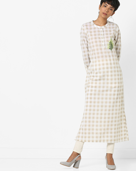 Checked Kurta With Placement Embroidery By AJIO ( Offwhite )