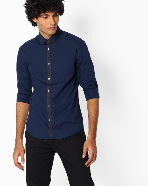 Slim Fit Shirt With Contrast Placket By Celio ( Blue )