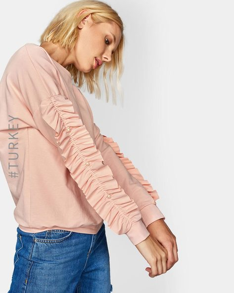 Sweatshirt With Frilled Sleeves By TRENDYOL ( Pink )