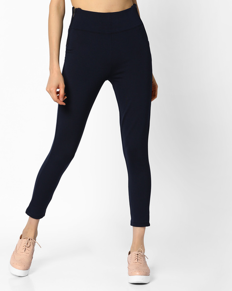 Ankle-Length Pants With Elasticated Waist By CODE By Lifestyle ( Navy )