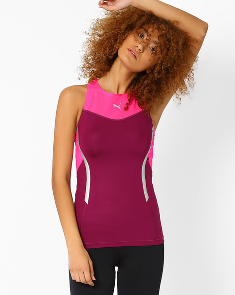Tank Top With Mesh Yoke By Puma ( Purple )