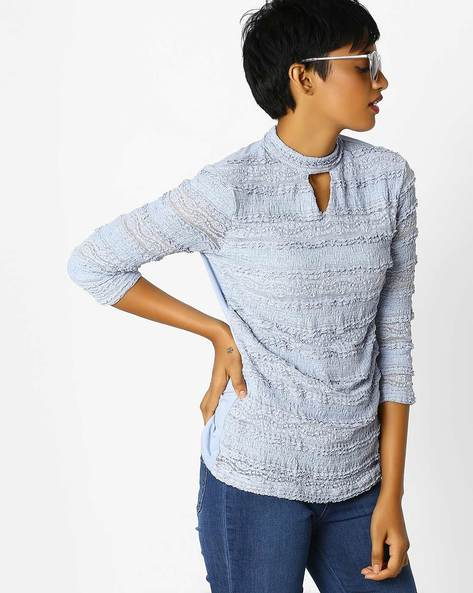 Woven Top With Choker Neckline By KRAUS ( Blue )