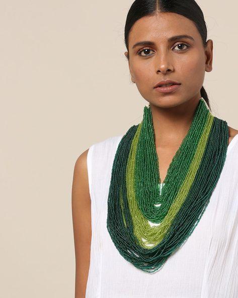Multi Strand Glass Bead Layered Necklace By IMLI STREET ( Green )