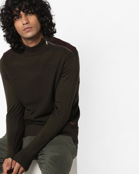 Panelled Pullover With Ribbed Hems By AJIO ( Olive )