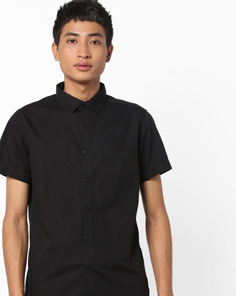 Slim Fit Shirt With Curved Hem By Highlander ( Black )