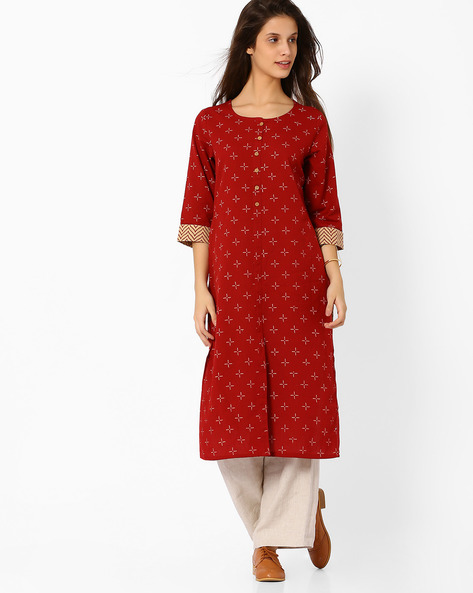 Printed Kurta With Front Slit By Avaasa Ariah ( Rust )