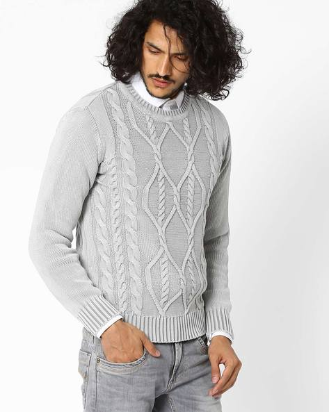 Over-Dyed Cable Knit Sweater By AJIO ( Lightgrey )