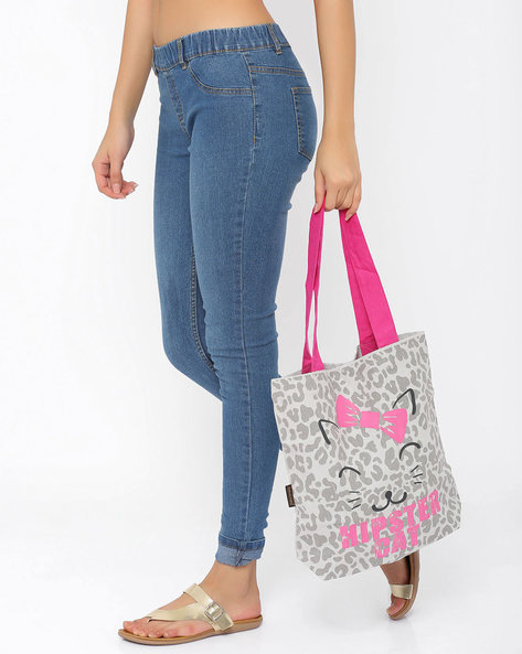 Printed Tote Bag By Kanvas Katha ( Grey )