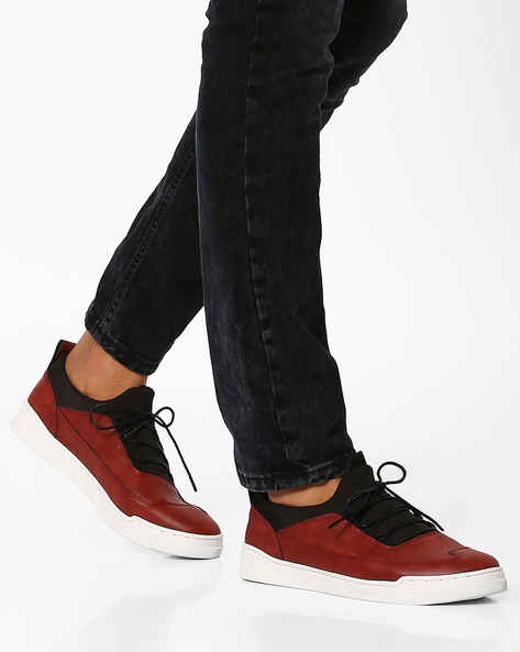 Faux Leather Lace-Up Sneakers By AJIO ( Darkred )