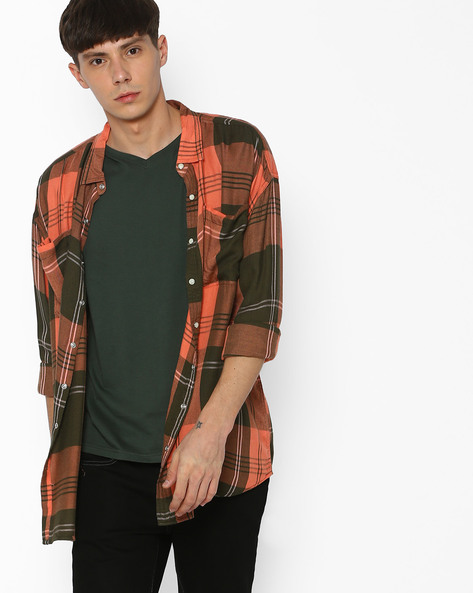 Checked Shirt With Curved Hem By ADAMO LONDON ( Multi ) - 460073222001
