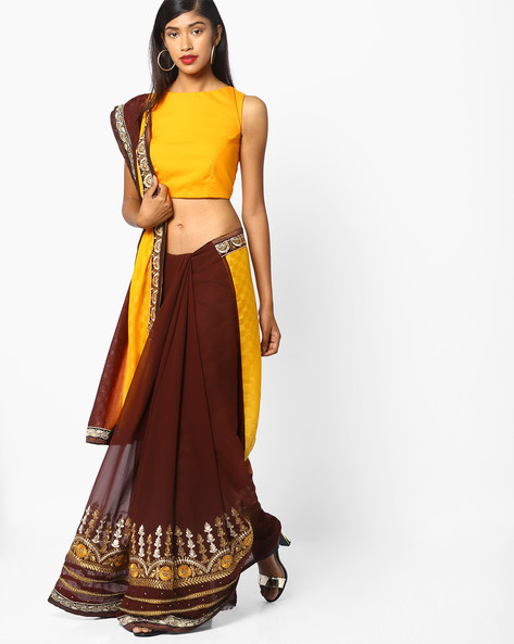 Saree With Embroidery By Majestic Silk ( Yellow )