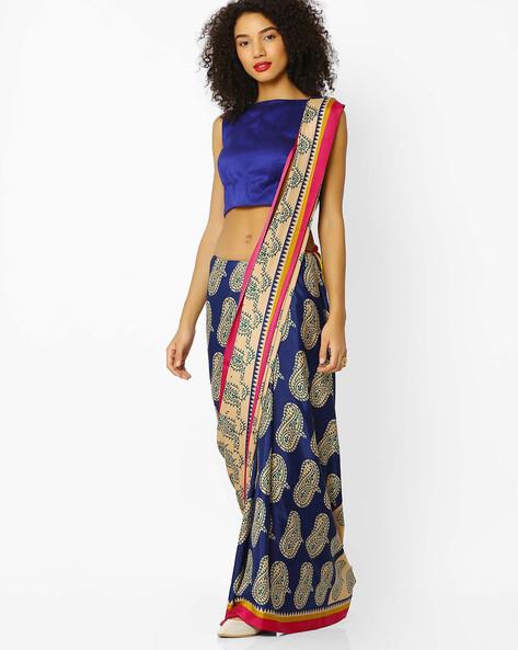 Half & Half Printed Saree By Florence ( Blue )
