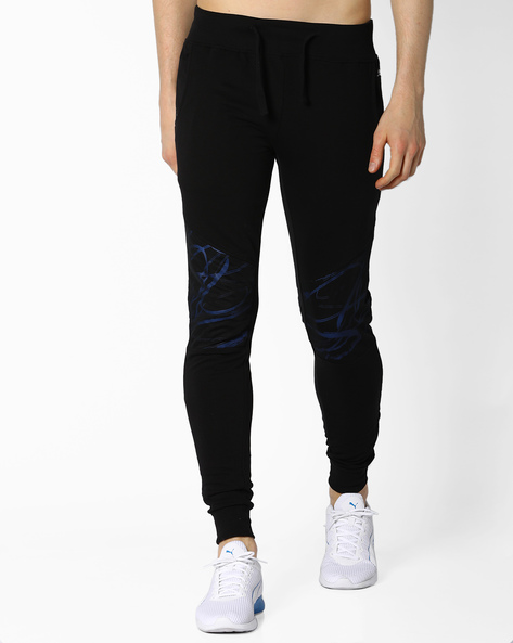 Cotton Joggers With Printed Panel By KULTPRIT ( Black )