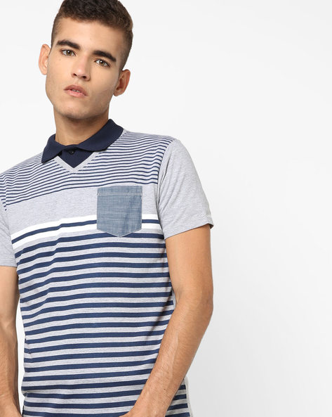 Striped Slim Fit Polo T-shirt By Pepe Jeans ( Grey )