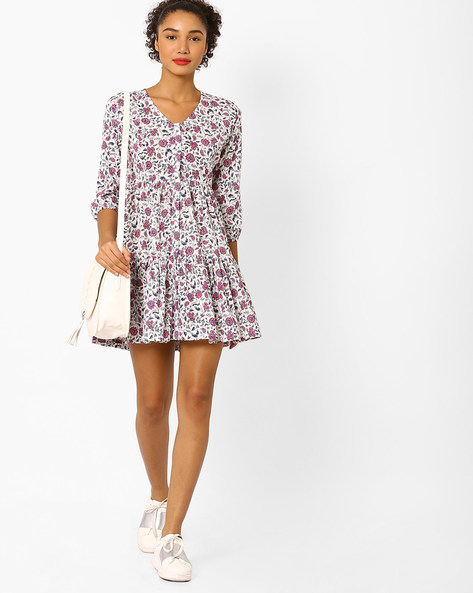 Floral Print Tiered Tunic By Vajor ( Multi )