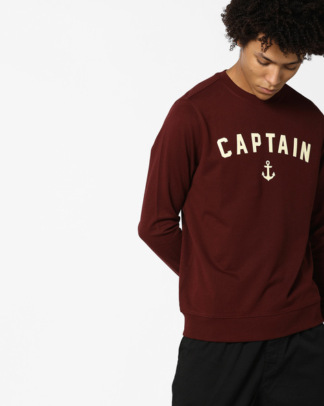 Typographic Print Crew-Neck Sweatshirt By AJIO ( Wine )