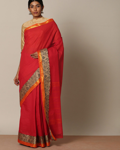Chettinad Cotton Saree With Woven Border By Indie Picks ( Red )
