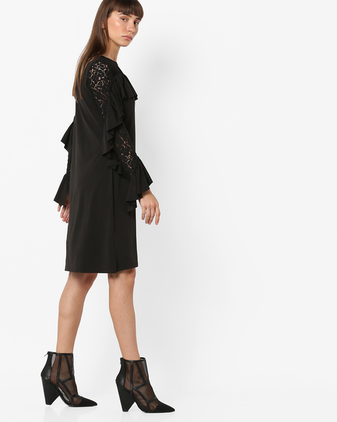 Ruffled Shift Dress With Tiered Sleeves By AJIO ( Black )