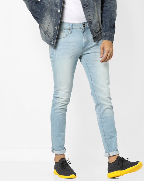 Super Slim Fit Distressed Jeans By ED HARDY ( Blue ) - 460155715002