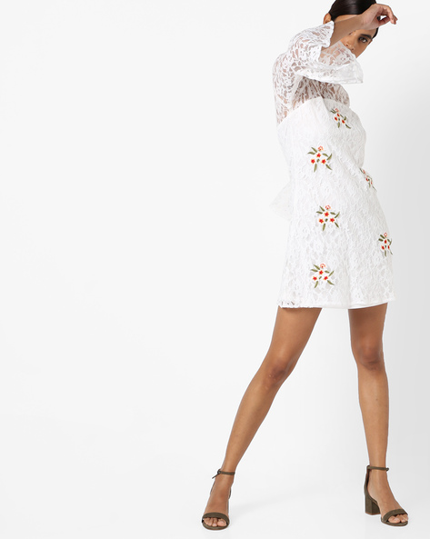 Floral Embroidered Dress By RI-DRESS ( White )